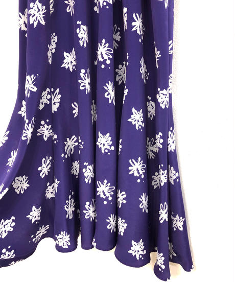 LIZROBERTO purple and white flare dress-1733-3