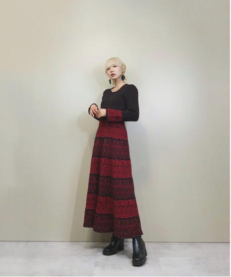 Rose design flare silhouette knit dress-1539-11
