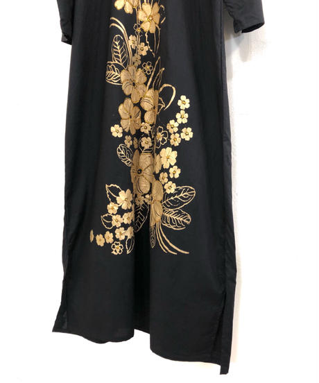 Gold flower embroidery vintage maxi dress-1773-3