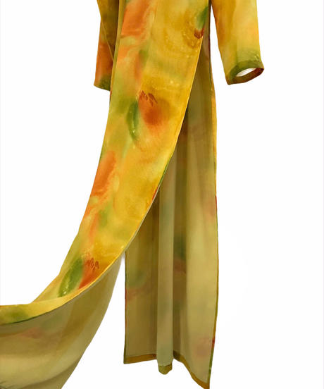 Watercolor vintage slit china dress-1834-4
