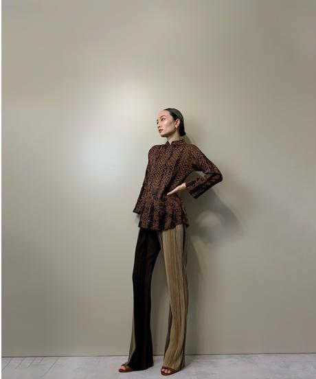 ERSYA ethnic design brown import tops-2062-7