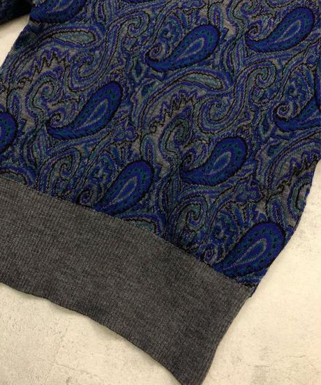 LANSOIR paisley design  blue knit-1586-1