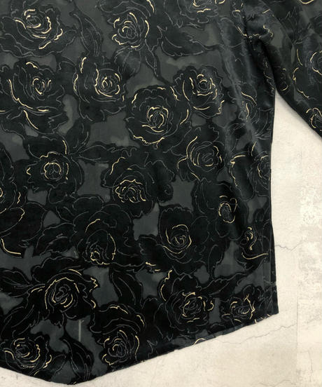Black rose velour&sheer classical tops-1663-2