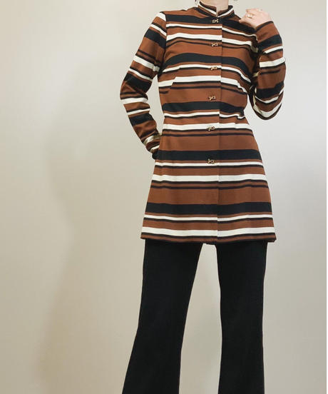 Metal button stand collar tunic-842-1