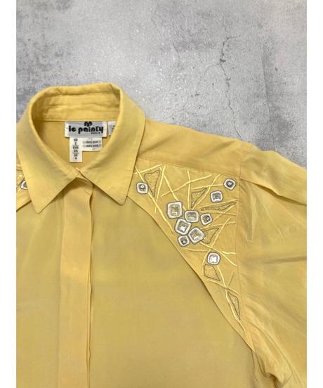 le painfy beads design yellow silk shirt-2140-8