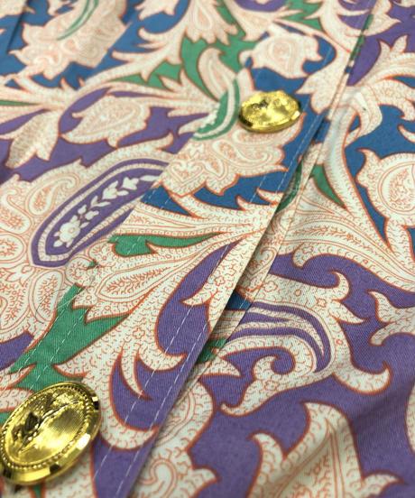 Purple paisley gold button rétro dress-1903-5