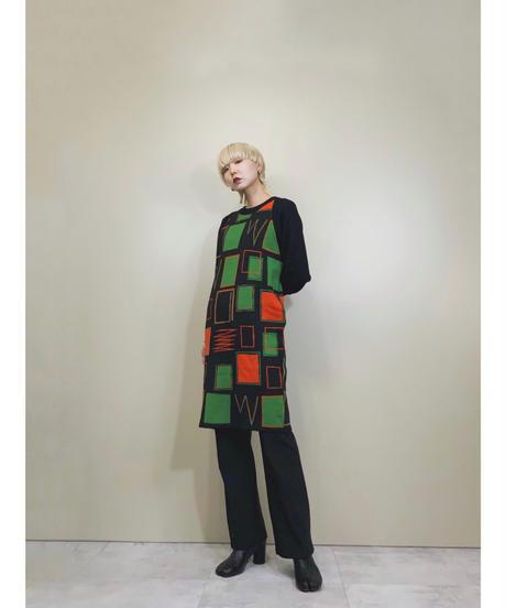 Saint Joie square design rétro knit  dress-1533-11