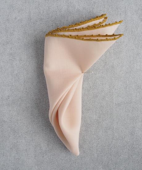 PICOT手刺繍・Palepink ポケットチーフ  #PS1605