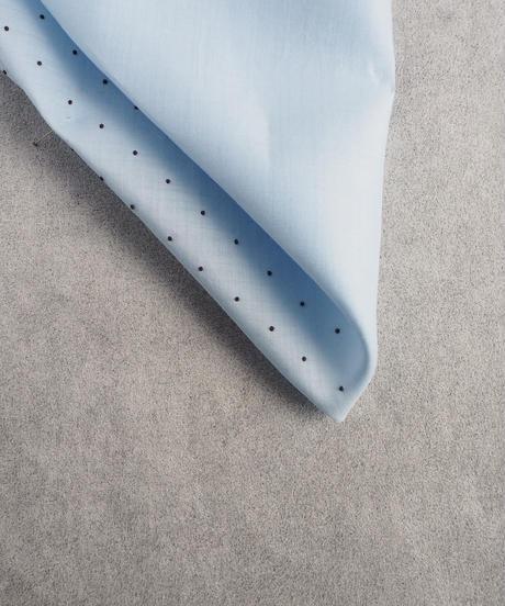 水玉刺繍・BLUE  ポケットチーフ    #PS1704
