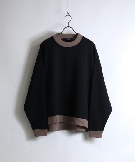 配色リブポンチクルーネック /ブラック