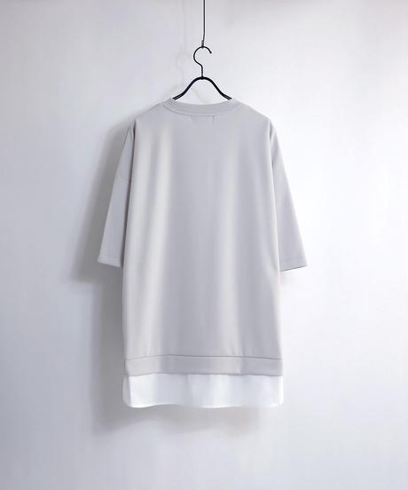 シャツレイヤードポンチTシャツ/グレー