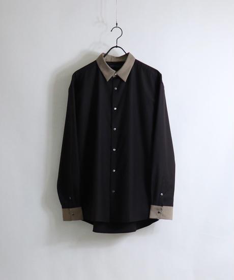 TRクレリックスナップ釦 LSシャツ /ブラウン