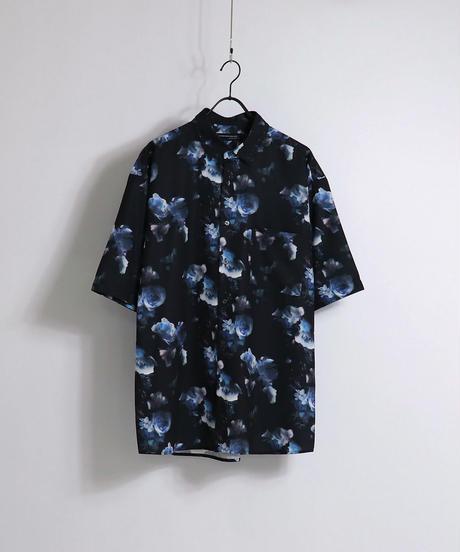 総柄プリント半袖ビッグシャツ /チャコール