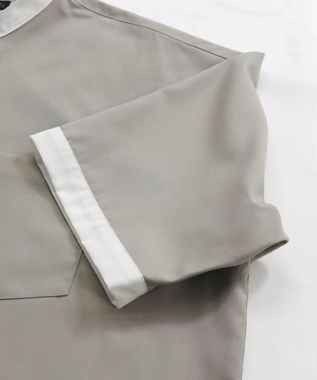 TRバンドカラークレリック半袖ビッグシャツ /ライトグレー