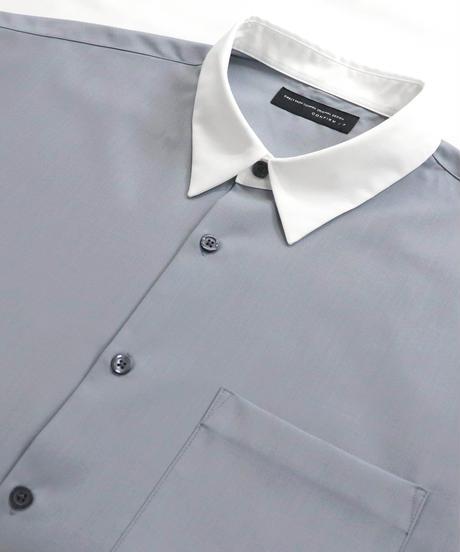 TRクレリック半袖ビッグシャツ /サックス