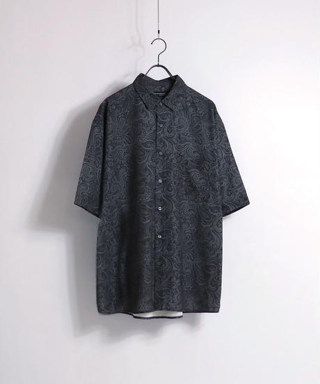 総柄プリント半袖ビッグシャツ /ブラック2