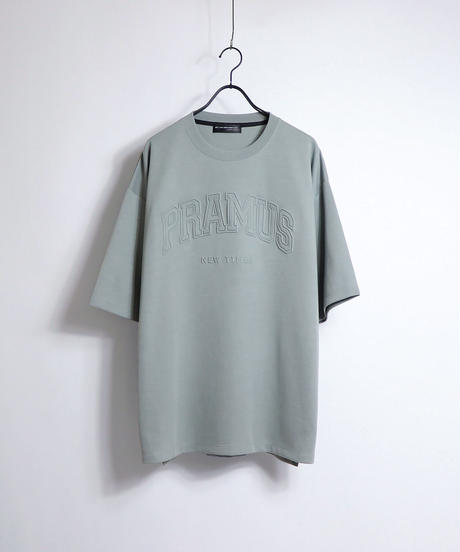 カレッジロゴ エンボスプリントTシャツ/グレー