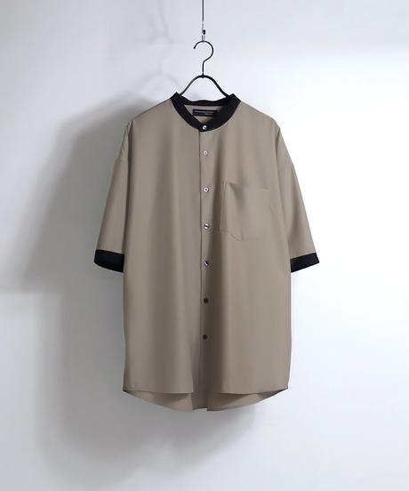 TRバンドカラークレリック半袖ビッグシャツ /グレー