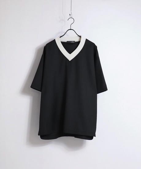 TRリブ配色Vネックプルオーバー /ブラック