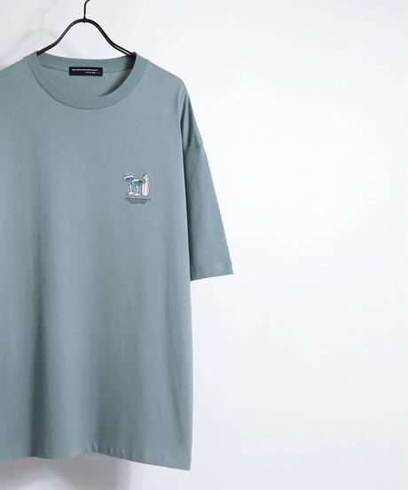 ワンポイントカクテル刺繍Tシャツ /チャコール