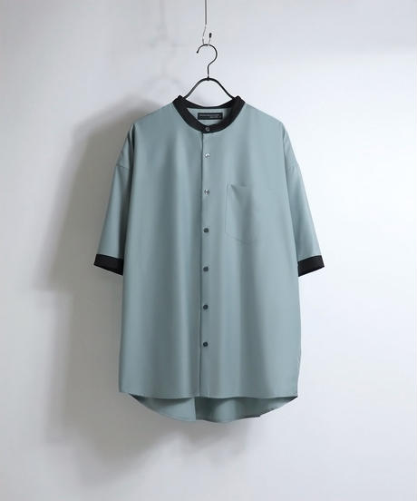 TRバンドカラークレリック半袖ビッグシャツ /ミント