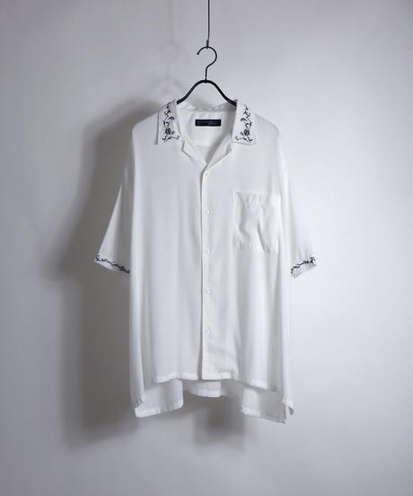 五分袖刺繍ワイドシャツ /ホワイト
