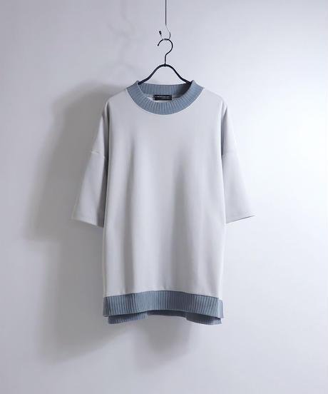 配色リブポンチビッグTシャツ /グレー