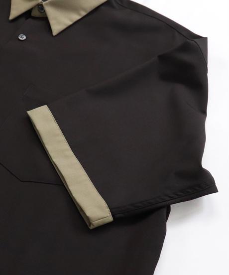 TRクレリック半袖ビッグシャツ /ブラウン