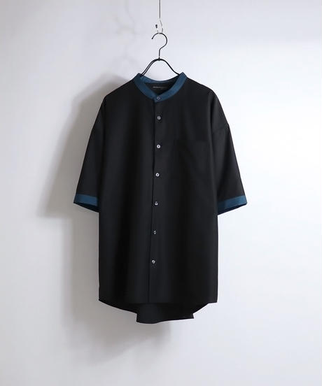 TRバンドカラークレリック半袖ビッグシャツ /ブラック2