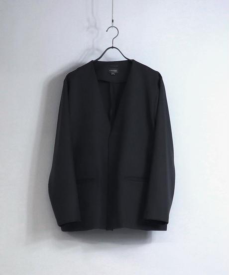【セットアップ対応】ノーカラージャケット/ブラック