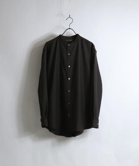 TRバンドカラーLSシャツ /ブラウン