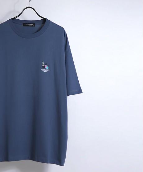 ワンポイントリップ刺繍Tシャツ /ブラック