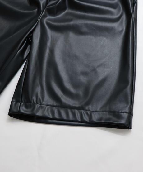 シンセティックレザーハーフパンツ /ブラック