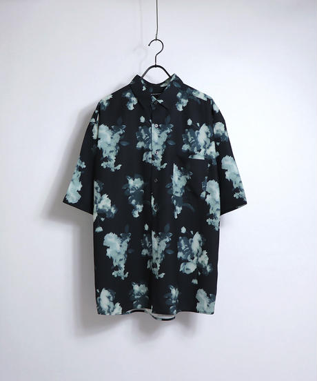 総柄プリント半袖ビッグシャツ /ブラウン
