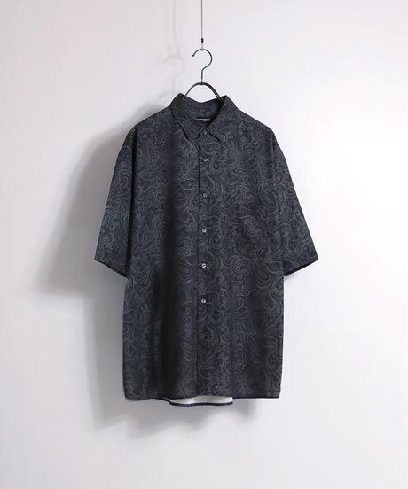総柄プリント半袖ビッグシャツ /ミント