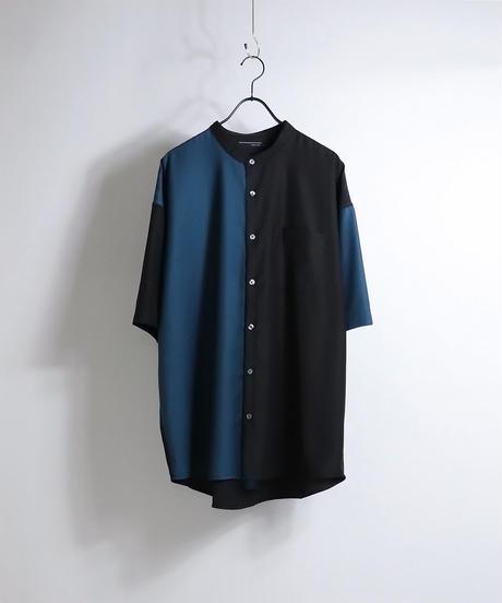 TRバンドカラークレリック半袖ビッグシャツ /ベージュ