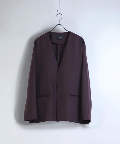 【セットアップ対応】ノーカラージャケット/ワイン