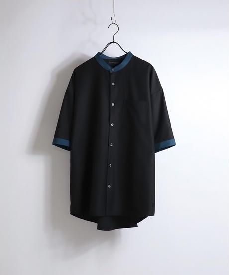 TRバンドカラークレリック半袖ビッグシャツ /サックス