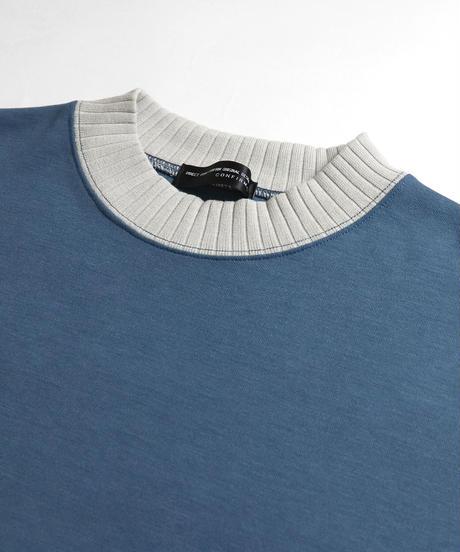 配色リブポンチビッグTシャツ /ブルー