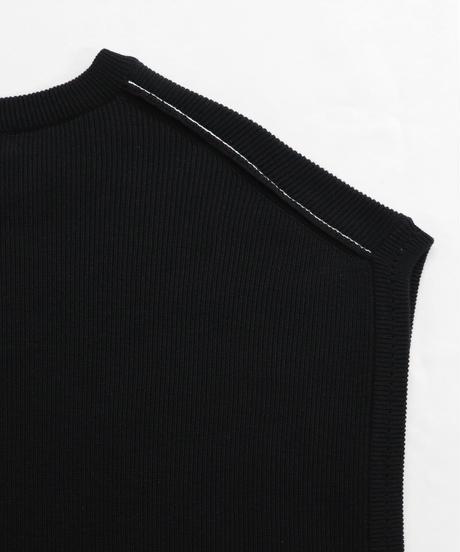 ルーズオーバーサイズニットベスト/ブラック2