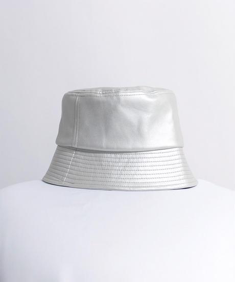 フェイクレザーバケットハット /シルバー