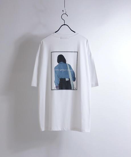 バッグガールプリントTシャツ /ブルー