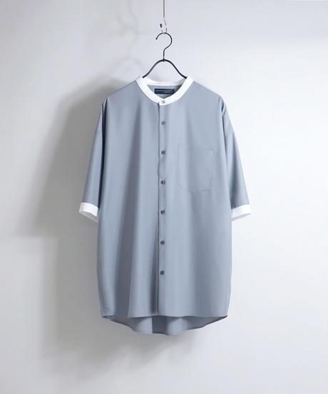 TRバンドカラークレリック半袖ビッグシャツ /ブラック
