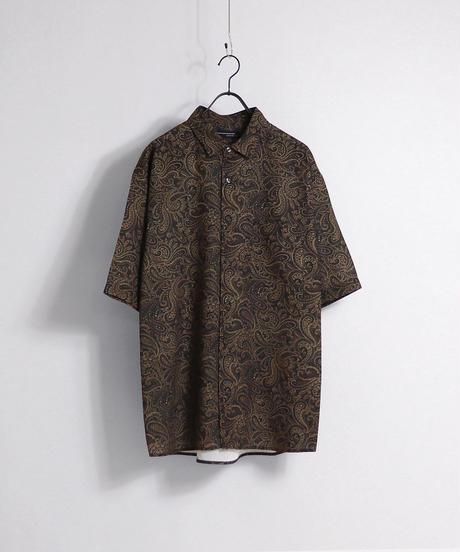 総柄プリント半袖ビッグシャツ /ブラック3