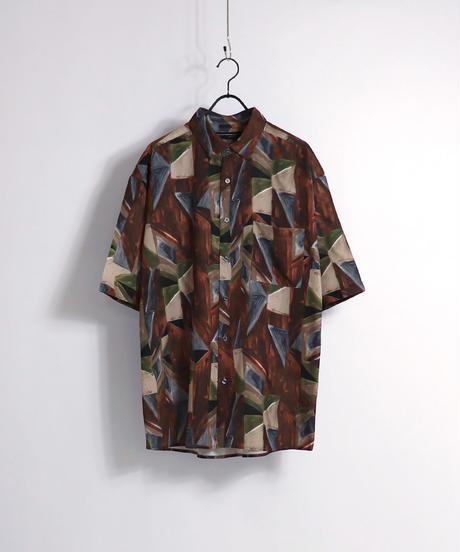 総柄プリント半袖ビッグシャツ /ワイン