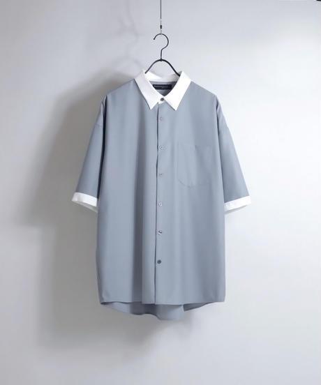 TRクレリック半袖ビッグシャツ /ライトグレー