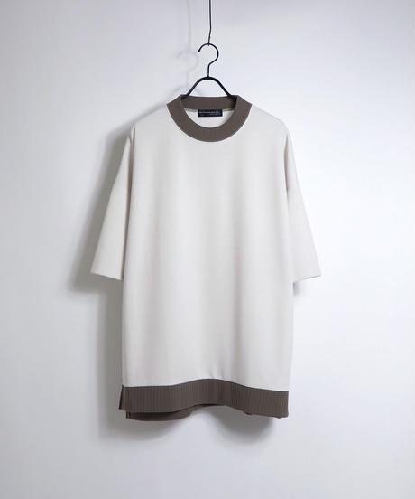 配色リブポンチビッグTシャツ /ブラック