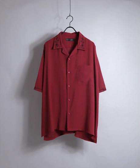 五分袖刺繍ワイドシャツ /ブラック