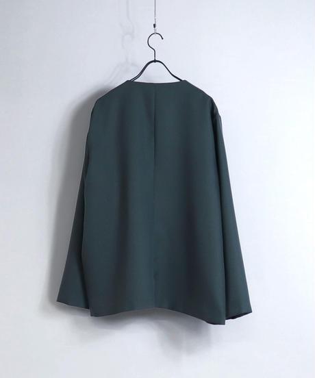 【セットアップ対応】ノーカラージャケット/グリーン
