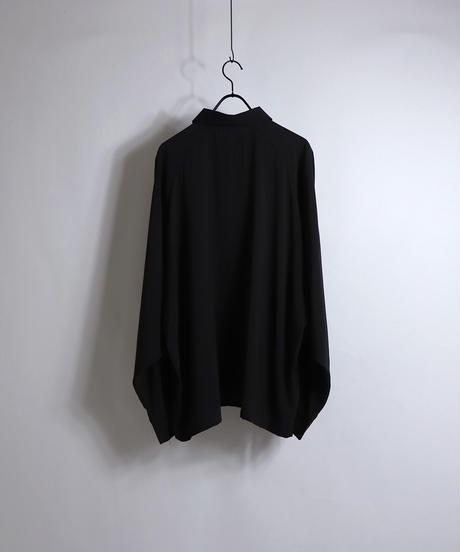 LS刺繍ラグランビッグシャツ /ブラック